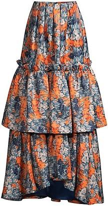 Flor Et. Al Katherine Floral Tiered Maxi Skirt