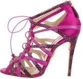 Brian Atwood Satin Snakeskin-Trimmed Cage Sandals