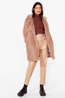 Nasty Gal Womens Can't Touch This Belted Faux Fur Coat - Stone