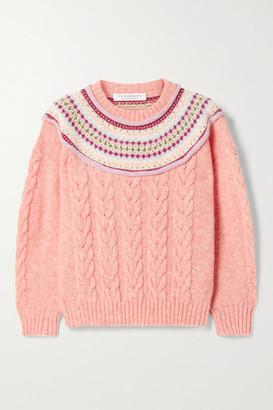 Philosophy di Lorenzo Serafini Layered Fair Isle And Cable-knit Wool Sweater