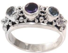 Novica Handmade Sterling Silver Seminyak Blossoms Amethyst Blue Topaz Ring