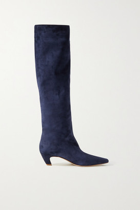 KHAITE Suede Knee Boots - Navy
