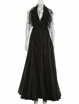 Valentino Feather & Bead-Embellished Gown Black