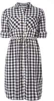 Dorothy Perkins **Tall Navy And White Gingham Check Tie Shirt Dress