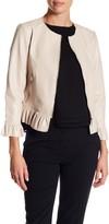 Catherine Malandrino 3/4 Length Ruffle Trim Pleather Jacket