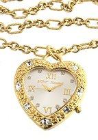 Betsey Johnson Women's BJ9002 Gold-Tone Heart Pendant Watch