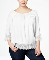 INC International Concepts Plus Size Lace-Trim Peasant Top, Only at Macy's