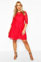 boohoo Plus Lace Smock Dress