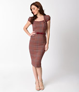 Stop Staring 1940s Style Burgundy Plaid Cap Sleeve Paz Wiggle Dress