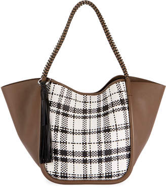 Proenza Schouler Large Woven Plaid and Leather Tote Bag