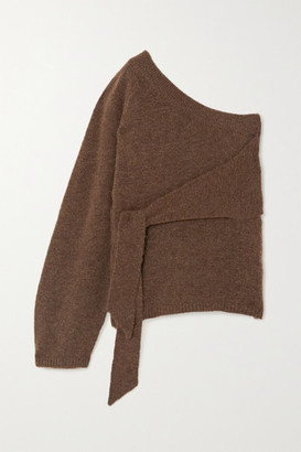Nanushka Cleto Cropped One-sleeve Tie-detailed Stretch-knit Sweater - Brown