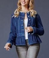 Suzanne Betro Women's Denim Jackets 101DARK - Dark Wash Frayed-Edge Peplum Denim Jacket - Women