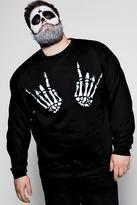 boohoo Big And Tall Skeleton Hand Print Sweater