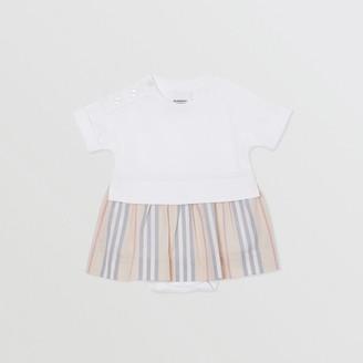 Burberry Childrens Icon Stripe Skirt Cotton Bodysuit