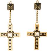 Lanvin Crystal Cross Drop Earrings