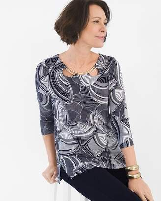 Travelers Classic Hardware-Neck Graphic Butterfly Tunic