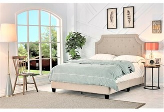 Winston Porter Heyworth Upholstered Standard Bed Color: Beige, Size: Full
