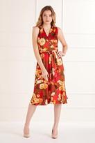 Yumi Rose Flower Wrap Effect Midi Dress