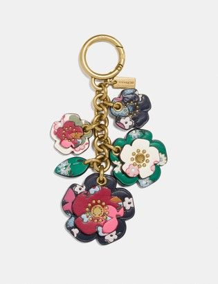 Coach Tea Rose Mix Bag Charm With Multi Floral Print