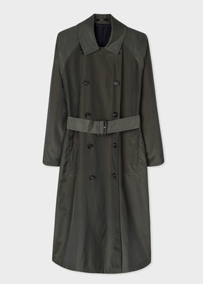 Paul Smith Women's Khaki Double-Breasted Cotton-Blend Trench Coat