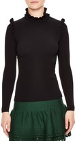 Sandro Women's Ruffle Trim Turtleneck Sweater