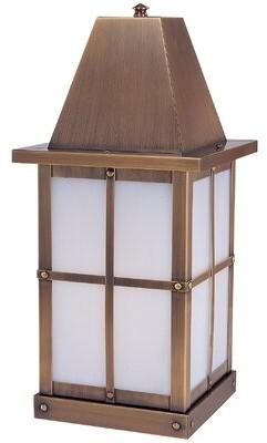 "Hartford Arroyo Craftsman Outdoor 1-Light Pier Mount Light Arroyo Craftsman Size: 20.5"" H x 8"" W, Color: Raw Copper, Shade Type: Gold White Iridescent"