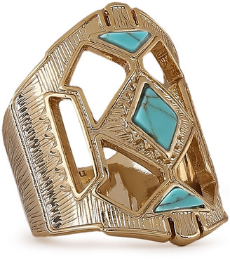 Noir 14-karat Gold-plated Stone Ring