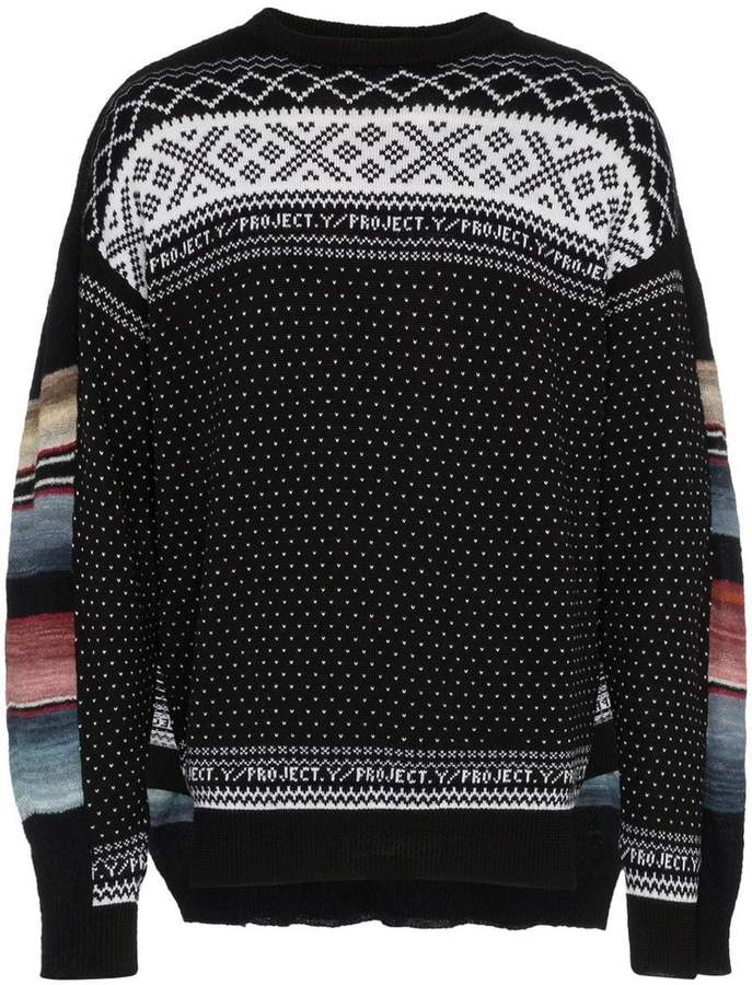 Y/Project Y / Project Norwegian panelled knit wool jumper