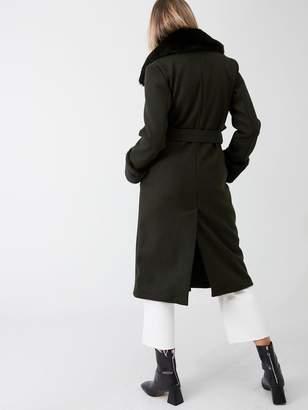 River Island Faux Fur Collar Tie Waist Coat-khaki