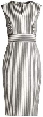 Max Mara Caraffa Pinstripe Sleeveless Sheath Dress