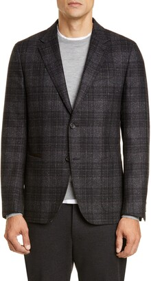 Ermenegildo Zegna Informale Classic Fit Plaid Wool Blend Sport Coat