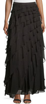 Haute Hippie Layered-Ruffle Long Skirt, Dark Graphite