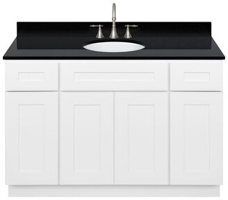 "Alpina Strauch 48"" Single Bathroom Vanity Set Winston Porter Base Finish White, Top Finish: Absolute Black"