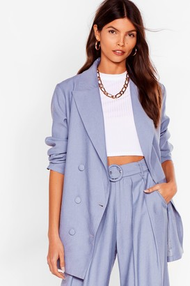 Nasty Gal Womens Business as Usual Double Breasted Blazer - Denim-Blue