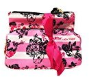 Betsey Johnson Luv 2 Pc Cosmetic Travel Bag Set (PINK WHITE STRIPE FLORAL)