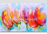Mermaid Art Hand Painted Landscape Modern Tulips Pink&Orange&Teal Palette Knife thick oil painting Canvas Living Room Wall Decor Artwork Fine (32x64inch)
