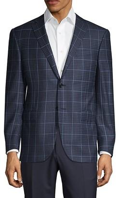 Corneliani Classic-Fit Windowpane Check Wool Jacket