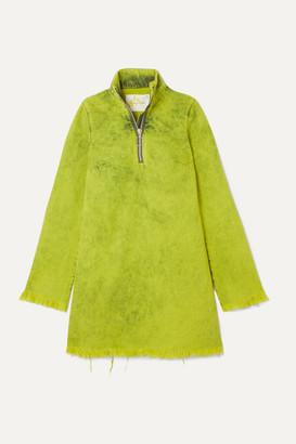 Marques Almeida Marques' Almeida - Frayed Acid-wash Denim Mini Dress - Lime green