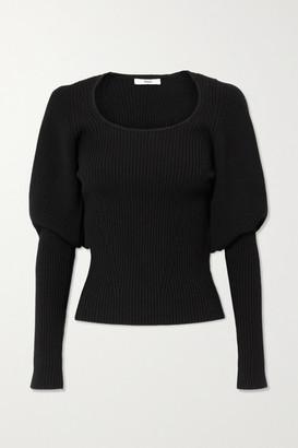 Safiyaa Beryl Ribbed Wool-blend Top - Black