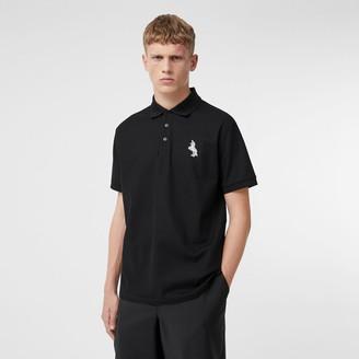 Burberry Zebra Applique Cotton Pique Polo Shirt