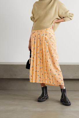 Rixo Nancy Pleated Floral-print Silk-crepe Midi Skirt - Yellow