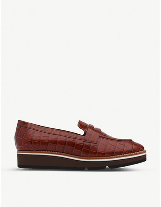 LK Bennett Shana croc-embossed leather flatform loafers