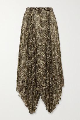 Isabel Marant Alena Asymmetric Pleated Printed Chiffon Midi Skirt - Ecru