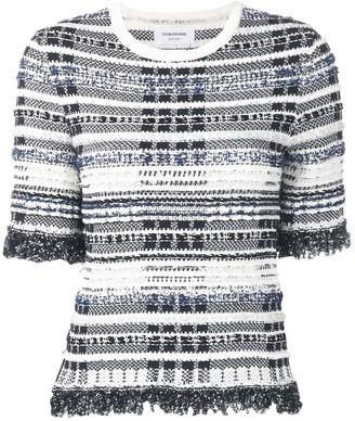 Thom Browne Navy Knit Tweed Tee