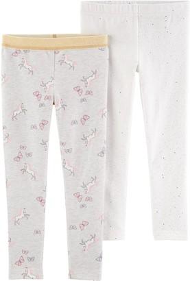 Carter's Baby Girl 2-Pack Sparkly Unicorn Leggings