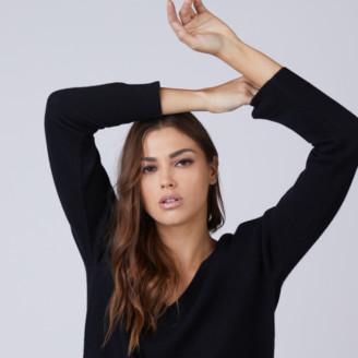 DSTLD Cashmere V-Neck Sweater in Black