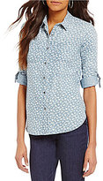 Intro Roll-Tab Sleeve Print Button Front Denim Top