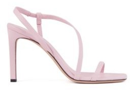 HUGO BOSS High-heeled sandals in nappa leather with asymmetric strap
