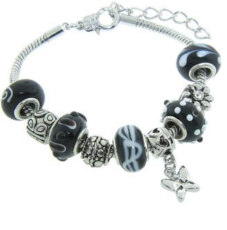 Swarovski Golden Moon Women's Bracelets Black - Black Butterfly Charm & Bead Bracelet With Crystals