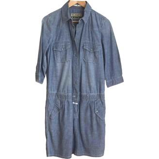 Closed Blue Cotton Dress for Women